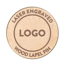 Custom Round Laser Engraved Wooden Lapel Pins 1
