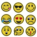 Alice Set of 9 Emoji Iron-on Appliques Emoticon Faces DIY Embroidered Patches