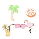 (Price/5 PCS) Opromo Flamingos Cartoon Brooch Vacation Style Cute Enamel Lapel Pin Cartoon Brooch Pin