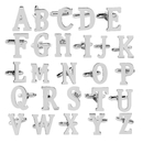 (Price/Pair) Opromo Initial Alphabet Letters Shirt Cufflink Silver Tone Business Cuff-Link