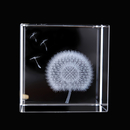 Custom 3d Laser Etched Crystal Cube, Creative Dandelion Crystal Paperweight, 2.36