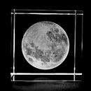 Custom 3d Laser Etched Crystal Cube, Creative Moon Shape Crystal Paperweight, 2.36
