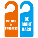 Blank Double Sided MEETING IN PROGRESS BE RIGHT BACK Door Hanger Sign for Business