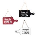 Blank Wooden Double Sided Open and Closed Sign, Open Closed Sign with Rope for Business Door, Two Style
