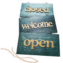 Blank Vintage Open Closed Welcome Sign with Rope for Store Home, 4