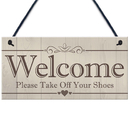Blank Wooden Welcome Please Take Off Your Shoes Sign, Single Sided Please Remove Your Shoes Signs, 4