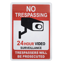 Aspire Premium Aluminum 24 Hour Video Surveillance Sign, No Trespassing Sign, Trespassers Will Be Prosecuted Sign, 7