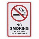 Aspire Plastic No Smoking Including E-Cigarettes Sign with 3M Tape, No Smoking Sign, 7