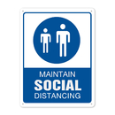Aspire Plastic Maintain Social Distancing Sign, Take Your Temperature Sign with Symbols, Easy to Mount