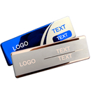 Personalize Glossy Stainless Steel Business Name Tag, ID Badge, Laser Engraved, 2-3/4