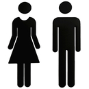 Blank Self-stick Men's and Women's Toilet Symbol Bathroom Sign, 7.8 inch