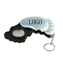 Custom Foot Shaped Magnifier Keychain w/ LED Lamp - 10X Lens - 1 LED, 3.35