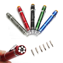 Custom 6 in 1 Pen Style Screwdriver Set w/ LED Light, 5 1/8