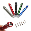 Blank 6 in 1 Pen Style Screwdriver Set w/ LED Light, 5 1/2