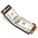 Blank Bifold Mens Money Clip Wallet RFID Brown Genuine Leather ID Window Wallet, 4-4/5