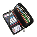 Blank Genuine Leather RFID Blockiing Clutch Wallet for Womens,Black ID Protector Wallet, 4-1/2