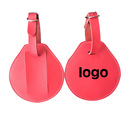 Custom Water Drop Leatherette Leather Luggage Tag w/ Buckled Strap, 3 1/2