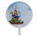 Custom Non-woven Pop Up Fan with Short Plastic Handle, 8