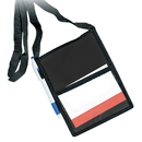 Blank Trade Show Badge Holder w/ Organizer & Lanyard, 5 5/8