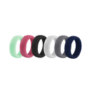 (Price/6 Pcs) GOGO Women's Silicone Wedding Ring - 9 mm Wide (2 mm Thick) - Great for Gym, Training, Outdoors, Exercises