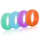 (Price/4 Pcs) GOGO Women's Silicone Wedding Rings Pack - 9 mm Wide (2 mm Thick) - Aqua Marine, Light Cyan, Lilac, Soft Orange