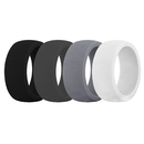 (Price/4 Pcs) GOGO Men's Silicone Wedding Rings Pack - 8.7 mm Wide (2 mm Thick) - Black, Darkgray, Gary, White