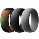 (Price/3 PCS) GOGO Silicone Rings, 3 PACK Rubber Wedding Bands for Men - 8.7 mm Wide