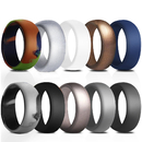 (Price/10 PCS) GOGO Silicone Rings, 10 Pack Rubber Wedding Bands for Men - 8.7 mm Wide