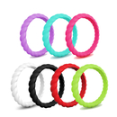 (Price/7 PCS) GOGO Stackable Silicone Wedding Rings Women Active Sports Thin Rubber Bands