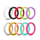 (Price/10 PCS) GOGO Braided Silicone Ring Premium Fashion Forward Silicone Ring