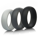 (Price/3 PCS) GOGO Unisex Silicone Wedding Ring Safe Rubber Band - 8mm Wide
