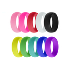 (Price/10 PCS) GOGO Silicone Ring Wedding Band For Men and Women, Silicone Rubber Bands - 8mm Wide
