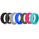 (Price/7 PCS) GOGO Silicone Rings, Wedding Bands for Women and Men - 8.5 mm wide