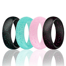 (Price/4 PCS) GOGO Silicone Wedding Ring for Women,Rubber Rings,Comfortable fit,No-Toxic,Skin Safe