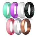 (Price/7 PCS) GOGO Silicone Wedding Ring for Women, 7 Packs Affordable Silicone Rubber Wedding Bands