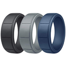 (Price/3 PCS) GOGO Silicone Wedding Rings Rubber Bands for Men & Women - 8mm Wide