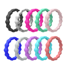 (Price/10 PCS) GOGO Silicone Wedding Ring for Women, Thin and Stackable Rubber Band - 2mm Thick