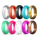 GOGO Rubber Silicone Wedding Bands with Rhinestone for Women, Durable Comfortable Soft and Skin Safe
