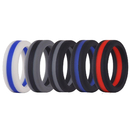 GOGO Silicone Wedding Ring for Men, Silicone Rubber Bands with Thin Line - 8mm Wide