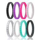 GOGO Silicone Wedding Ring for Women, Thin Silicone Rubber Wedding Bands - 2mm Wide
