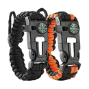 GOGO Survival Bracelet Paracord - Adjustable Size - Fire Starter, Knife, Compass, Whistle for Fishing Gear Supplies, Hiking Travel Camp