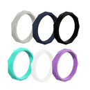 GOGO Hammered Stackable Silicone Ring, Premium Fashion Forward Rubber Wedding Bands - 3mm Wide