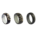 (Price/5 PCS) GOGO Silicone Wedding Ring for Men, Imitation Bark Texture Design Rubber Bands - 8.7 mm Wide
