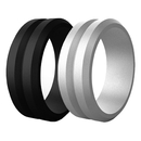 (Price/4 PCS) GOGO Unisex Silicone Wedding Ring Rubber Wedding Bands, V-Shape Top Beveled Edges - 8mm Wide & 2.5mm Thick