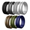 (Price/7 PCS) GOGO Unisex Silicone Wedding Ring Premium Rubber Wedding Bands, V-Shape Top Beveled Edges - Width 8mm & Thickness 2.5mm