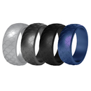 (Price/4 PCS) GOGO Silicone Wedding Ring For Men, Scaly Pattern Rubber Wedding Bands - 8.77mm Wide & 2.5mm Thick