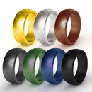 (Price/7 PCS) GOGO  Scaly Pattern Silicone Wedding Ring Rubber Wedding Bands For Men - 8.77mm Wide & 2.5mm Thick