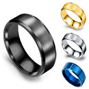 GOGO Men's Stainless Steel Ring 8mm Wedding Ring with Polished Beveled Edge & Matte Brushed Finish Center Engagement Wedding Band