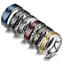 GOGO Unisex Stainless Steel Gragon Patterned Ring for Men Women 8mm Wedding Ring with Step Edge