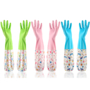 Opromo Household Cleaning Gloves Waterproof Reuseable Rubber Kitchen Glove Long Sleeve Dishwashing Gloves